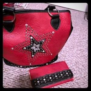 Handbags - Red star purse with free wallet